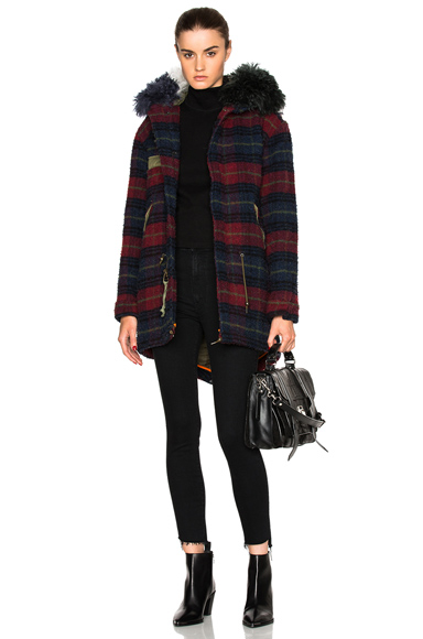 Mr & Mrs Italy Midi Parka Jacket in Blue, Checkered & Plaid, Red