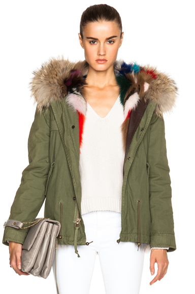 Mr & Mrs Italy Mini Fox Army Parka With Fox & Raccoon Fur in Green