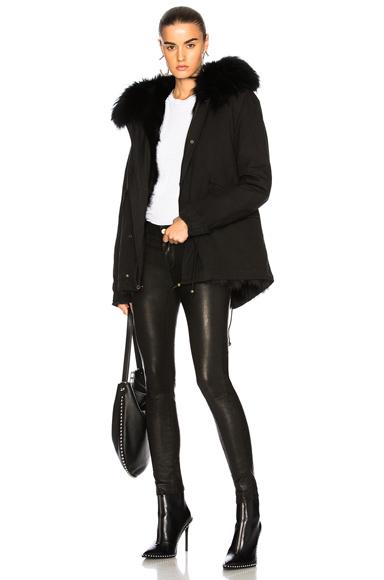 Mr & Mrs Italy Mini Parka With Fox & Raccoon Fur in Black