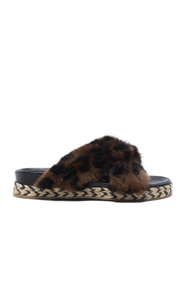 Mr & Mrs Italy Mink Fur Sandals in Brown