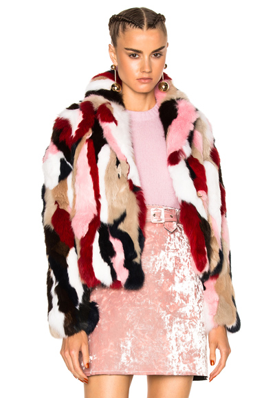 MSGM Fur Jacket in Pink, Neutrals, Abstract