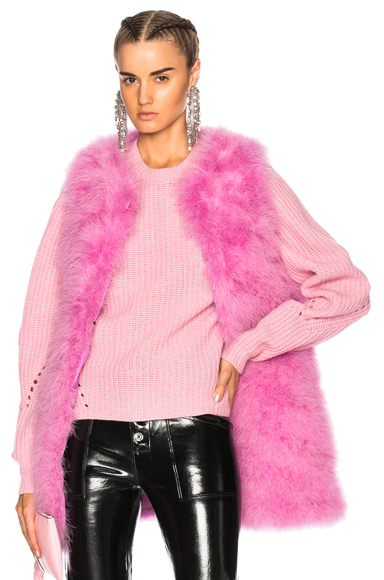MSGM Ostrich Feather Coat in Pink