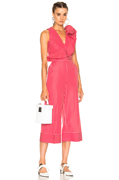 MSGM Striped Sleeveless Jumpsuit in Red, Stripes