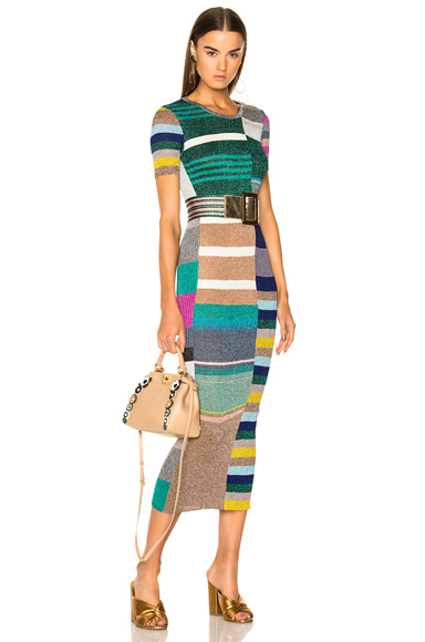 Missoni Short Sleeve Printed Knit Maxi Dress in Green, Metallics, Pink, Red, Stripes