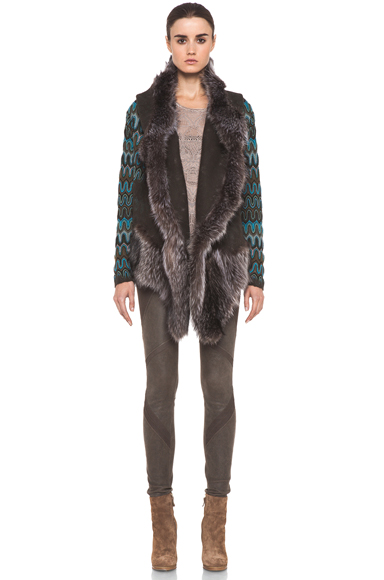 MISSONI | Fur Trim Jacket in Blue