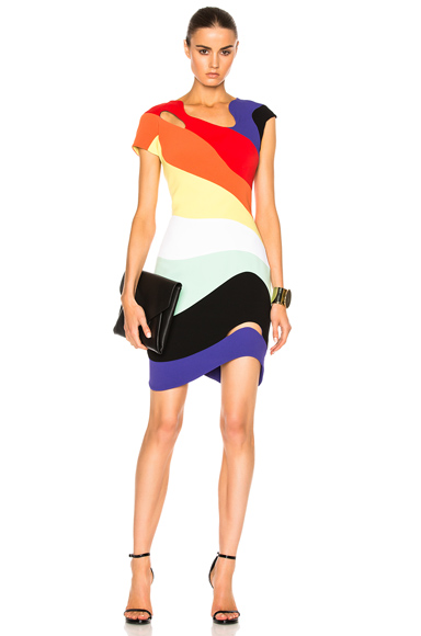 Mugler Technical Cady Dress in Abstract, Orange, Purple, Red, Yellow