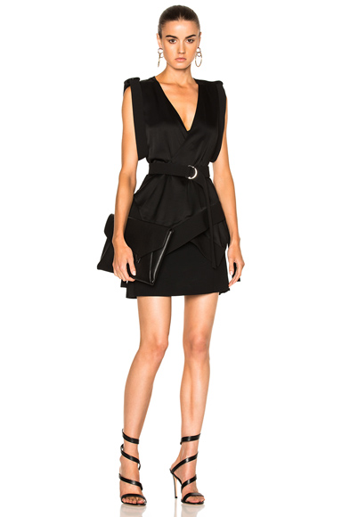 Mugler Satin & Technical Cady Belted Dress in Black