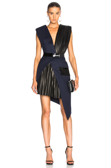 Mugler Wool Twill & Patent Leather Belted Wrap Dress in Blue