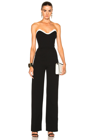 Mugler Technical Cady Bicolor Jumpsuit in Black, White