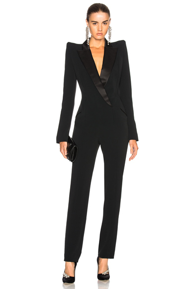 Mugler Crepe Tuxedo Jumpsuit in Black