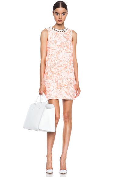 MATTHEW WILLIAMSON | Botanical Cotton-Blend Shift Dress with Embroidery in Fluro Orange