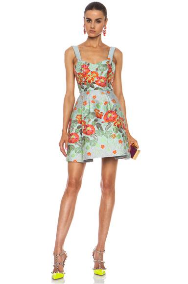 MATTHEW WILLIAMSON | Floral Garden Poly-Blend Brocade Dress in Eau de Nil