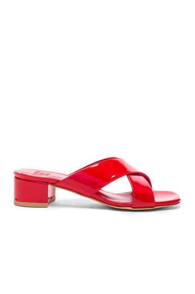 Maryam Nassir Zadeh Patent Leather Lauren Slide Heels in Red