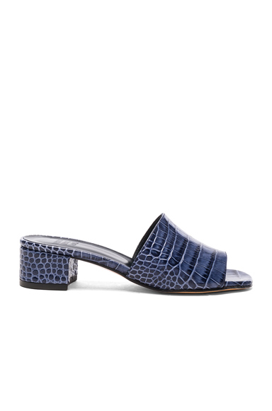 Maryam Nassir Zadeh Leather Sophie Slide Heels in Blue, Animal Print