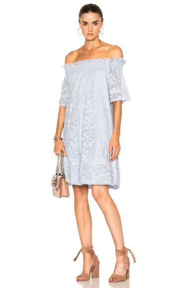 Needle & Thread Off the Shoulder Dress in Blue