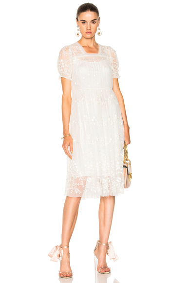 Needle & Thread Embroidered Midi Dress in White