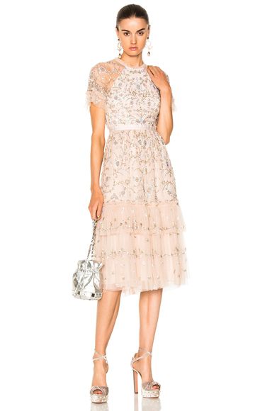 Needle & Thread Constellation Lace Dress in Neutrals, Pink