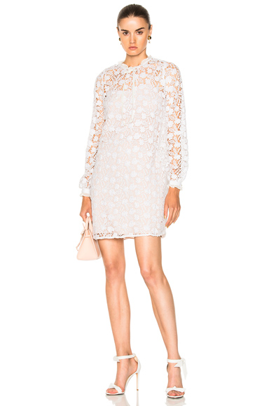 Needle & Thread Crochet Lace Dress in White