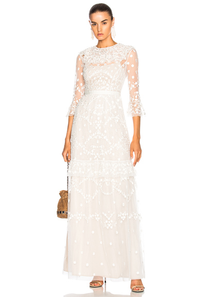 Needle & Thread Shadow Lace Gown in White