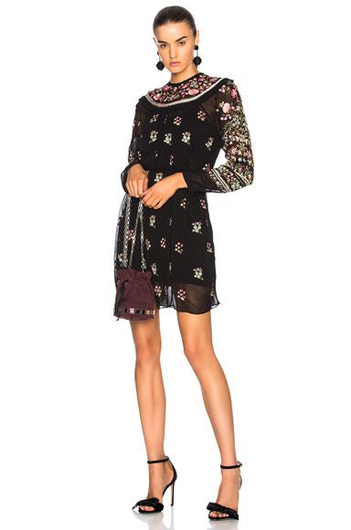 Needle & Thread Victorian Folk Dress in Black, Floral