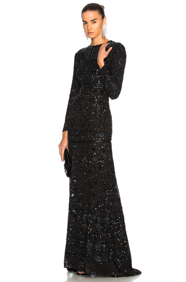 Needle & Thread Midnight Lace Gown in Black