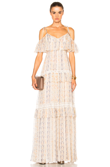 Needle & Thread Floral Stripe Maxi Dress in Floral, Neutrals