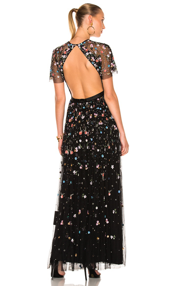 Needle & Thread Starburst Dress in Black, Floral