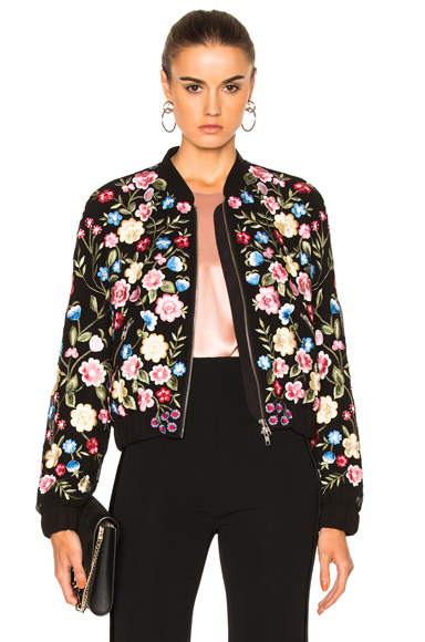Needle & Thread Flower Foliage Bomber in Black, Floral