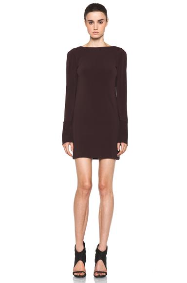 NEIL BARRETT | Drape Back Cotton-Blend Dress in Bordeaux