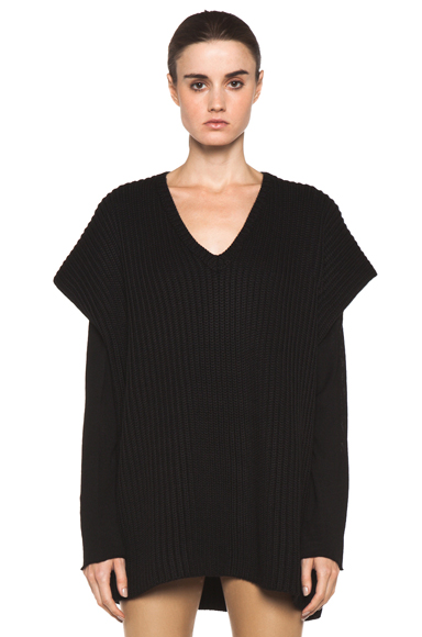 NEIL BARRETT | Deep V Neck Sweater in Black
