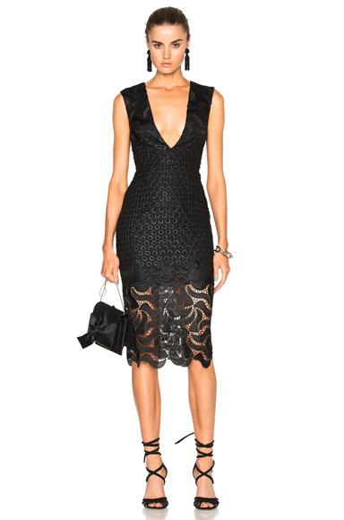 NICHOLAS Leaf Lace Deep V Dress in Black