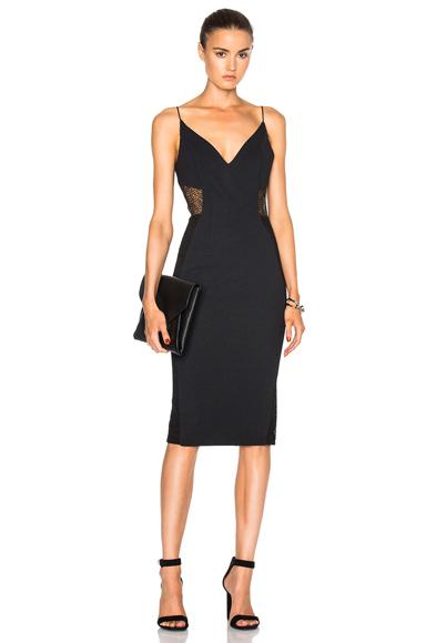 NICHOLAS Crepe Insert Dress in Black