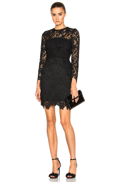 NICHOLAS Wallpaper Lace Mini Dress in Black