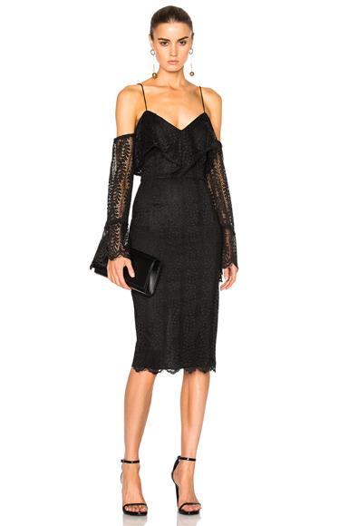 NICHOLAS Ivy Cut Out Shoulder Dress in Black