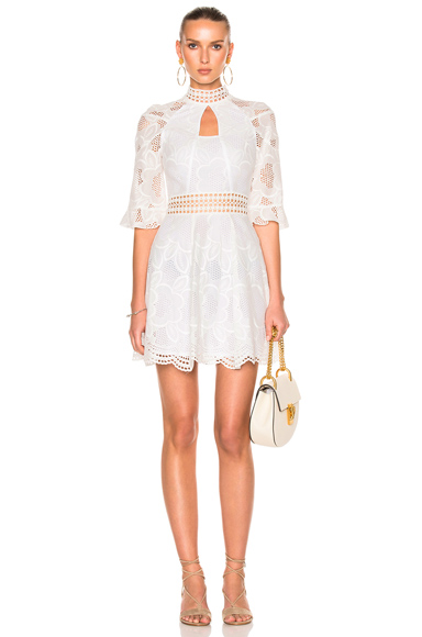 NICHOLAS Pollen Lace Paneled Dress in White