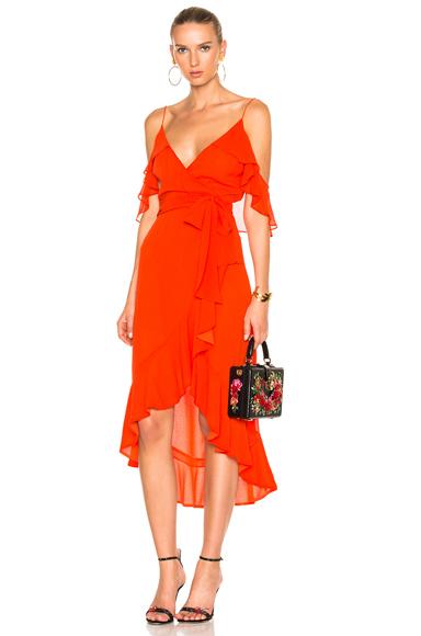 NICHOLAS Georgette Wrap Dress in Red
