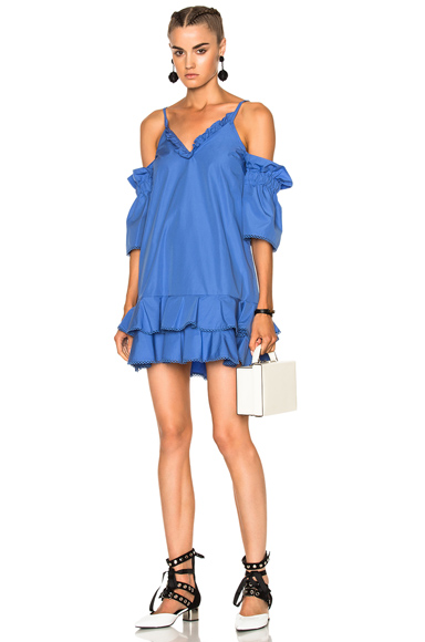 NICHOLAS Cotton Ruffle Hem Dress in Blue