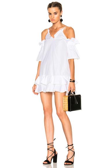 NICHOLAS Cotton Ruffle Hem Dress in White