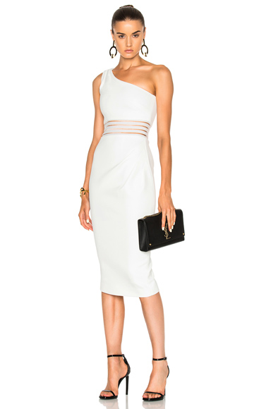 NICHOLAS Bandage One Shoulder Dress in White