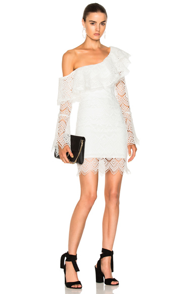 NICHOLAS Antique Lace One Shoulder Dress in White