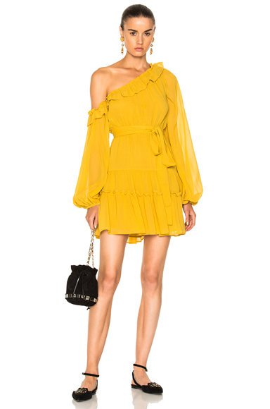 NICHOLAS for FWRD One Shoulder Tiered Mini Dress in Yellow
