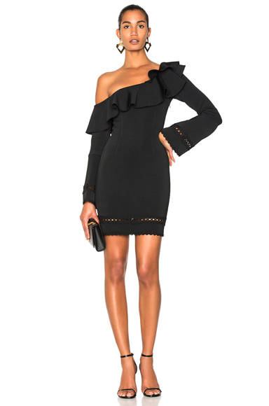 NICHOLAS Bandage One Shoulder Slim Mini Dress in Black