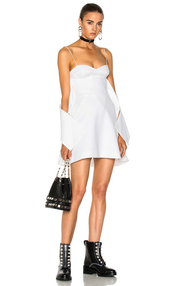 NICHOLAS Crepe Flounce Mini Dress in White