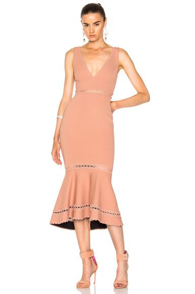 NICHOLAS Bandage Plunge Midi Dress in Pink