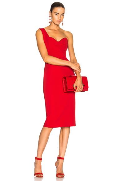 NICHOLAS One Shoulder Bandage Dress in Red