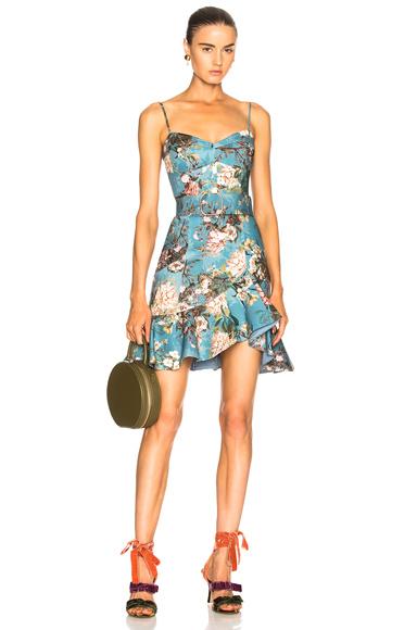 NICHOLAS Frill Dress in Blue, Floral