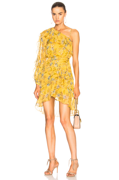NICHOLAS One Shoulder Frill Dress in Yellow, Floral