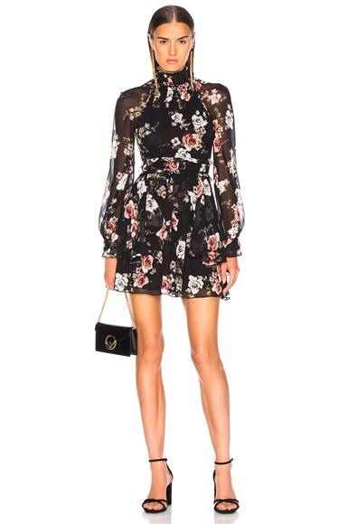 NICHOLAS | NICHOLAS High Neck Mini Dress In Black,Floral. - Size 0 (Also In 4) | Goxip