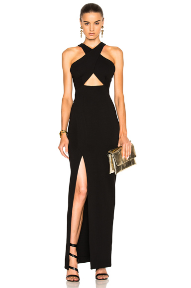 NICHOLAS Event Cross Over Poly-Blend Dress in Black