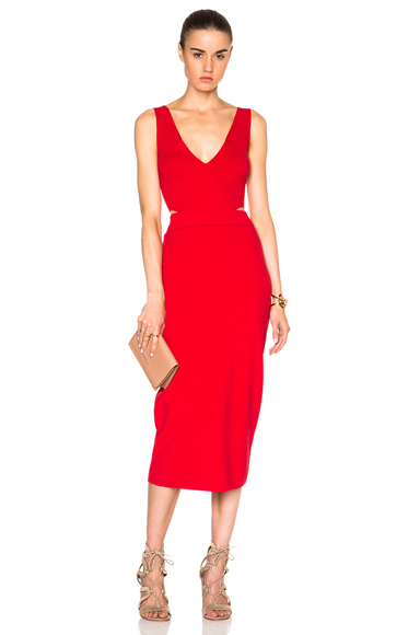 NICHOLAS Front Wrap Dress in Red